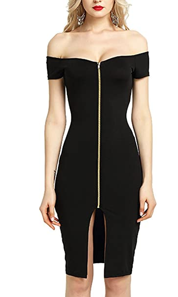 2f084bd001 FOURSTEEDS Women Sexy Off Shoulder Short Sleeve Knee Length Front Split  Zipper Slim Dress Black US