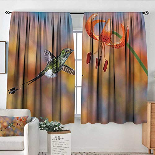 Mozenou Hummingbird Custom Curtains The Booted Racket Tail Feeding Nectar from Tiger Lily Blur Background Photo Patterned Drape for Glass Door 63
