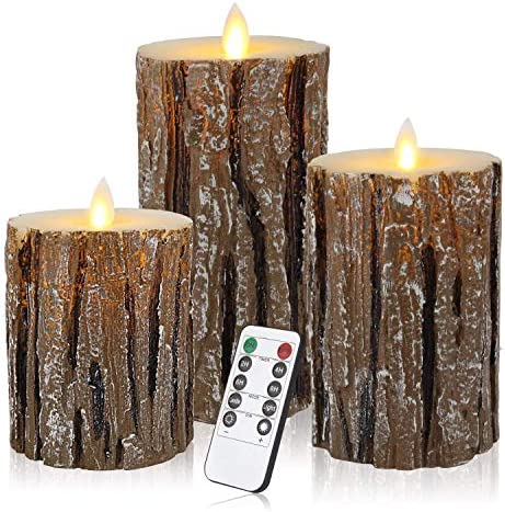 ztd Set of 3 Flameless LED Candles Pillar Candle with Timer and 18-Key Cedar-Bark Dripless Real Wax LED Pillars Remote Control with Battery