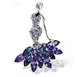 Multi Color Rhinestone Crystal Flower Brooches
