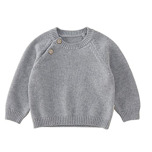 pureborn Baby Boys Girls O-Neck Solid Toddler Children Sweaters Knitted Pullover Coats Outwear Sweatshirt Dark Grey 3-6 -