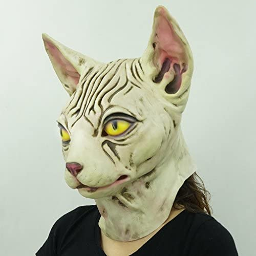 Hairless cat Latex Mask Funny Animal Hood Halloween Costume Party Decorations 21