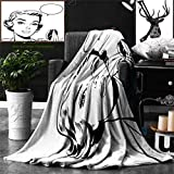 Ralahome Unique Custom Double Sides Print Flannel Blankets Pop Art Woman Holding A Mirror Super Soft Blanketry Bed Couch, Throw Blanket 70 x 50 Inches