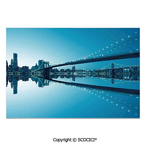 SCOCICI Set of 6 Printed Dinner Placemats Washable Fabric Placemats NYC Landscape Manhattan Skyline Panorama Monochrome Picture Modern Home Artwork for Dining Room Kitchen Table Decoration]()