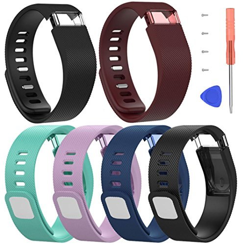 For Fitbit Force Large Bands,PrettyW Large Silicone Replacement Band Strap Wristband Bracelet For Fitbit Force (Pack of 6) by PrettyW