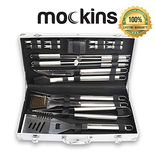 Mockins Stainless Steel 19 Piece BBQ Grill Tools Set Includes A Variation of Heavy Duty Barbecue Grilling Utensils an…