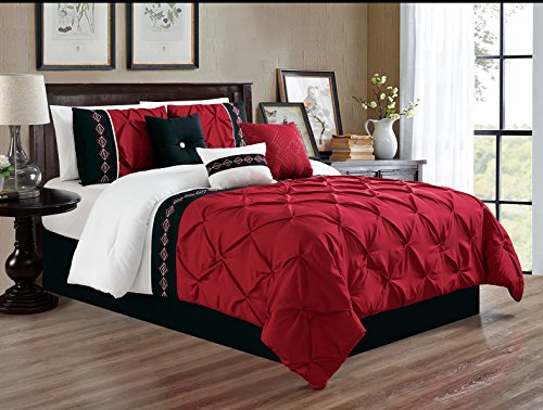 Grand Linen 7 Pieces Queen Size Burgundy Red/Black/White Double-Needle Stitch Pinch Pleat All-Season Bedding-Goose Down Alternative Embroidered Comforter Set
