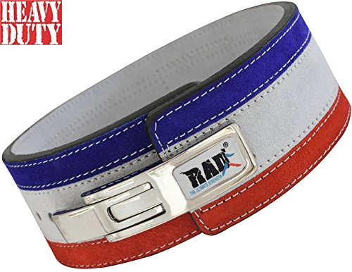 Blue Training Belt - RAD Nubuck Leather Weight Lifting Lever Pro Belt Back Support Gym Training Red,White & Blue (Medium)