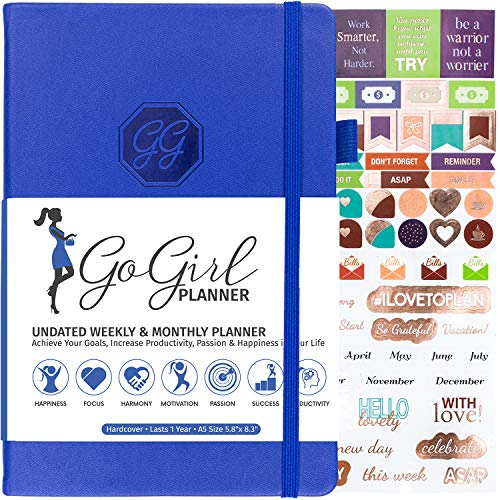 GoGirl Planner and Organizer for Women - A5 Size Weekly Planner, Goals Journal & Agenda to Improve Time Management, Productivity & Live Happier. Undated - Start Anytime, Lasts 1 Year - Royal Blue