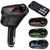 HDE Car Kit MP3 Player, FM Transmitter w/ Remote & Charger - USB, SD & 3.5mm Jack for Phone MP3 Etc.