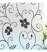 Mikomer Decorative Window Film,Black Flower Static Cling Privacy Door Film, Non Adhesive Heat Con...