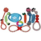 Dog Rope Chew Toys Training 10Pcs Aopet Dog Teething Tough Durable Pet Bite-Resistant Toy for Aggressive Chewers Small Medium Sized Dogs