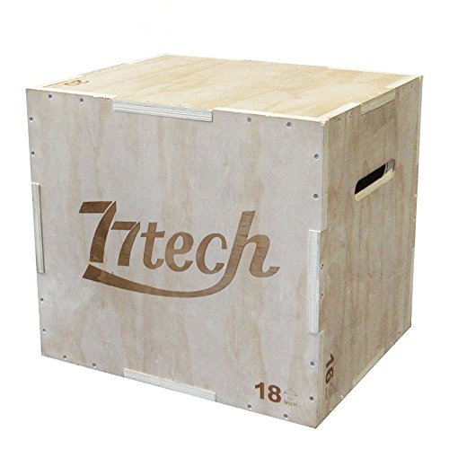 77tech 3 in 1 Wood Plyometric Box Exercise Equipment Crossfit Puzzle Wood Plyo Jump Box for Jump Training and Conditioning 16/20/24in