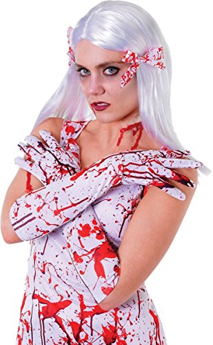Bristol Novelties Women's Fancy Club Prop Scary Nurse Blood Splattered Gloves One Size White -