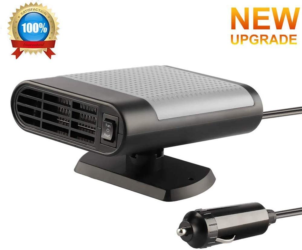 Upgrade Car Heater, 2 in 1 Portable Fast Heating Car Heater with Heating & Cooling Function Defroster Defogger 12V 150W Automobile Windscreen De-Icer (Gray)
