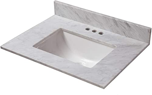 CAHABA CAVT0166 25 in x 22 in Carrara Marble Vanity Top with trough bowl and 4 in faucet spread