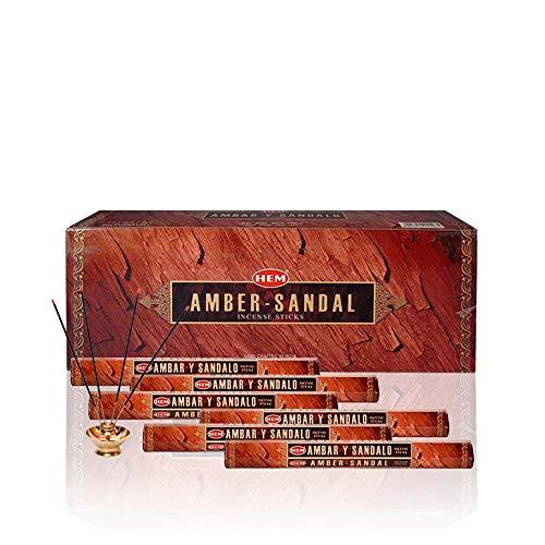 Amber - Box of Six 20 Gram Tubes - HEM Incense