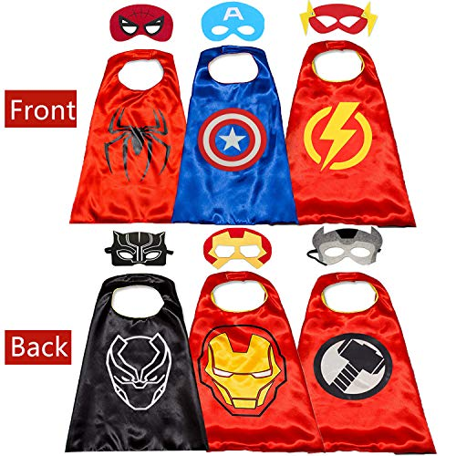Superhero Cape for Kids- Halloween Cape and Mask Cosplay Costumes Kids Best Gifts (Double Sided Cape -
