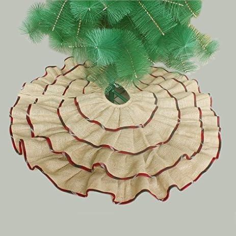 ruffler jute burlap christmas tree skirt extra large 60 diameter red border decoration p4603 - Extra Large Christmas Tree Skirt