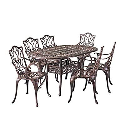 Christopher Knight Home Haitian Cast Aluminum Outdoor Dining Set, 7-Pcs Set, Copper - 7-PIECE SET: Our dining set will meet all of your outdoor furniture needs. This high-class set includes 6 chairs and a table in a beautiful copper color, adding style to your space without sacrificing comfort. The chairs fit perfectly around the table for backyard family meals and picnics or lounging poolside with friends. RUST-RESISTANT METAL: At Great Deal Furniture, we bring you the best outdoor furniture available. Our table and chairs are made of sturdy and durable cast aluminum that is rust-resistant, for years of outside use. If you use this set by the pool, it's all-weather quality helps prevent water damage caused by wet swimsuits and splashing. INTRICATE ANTIQUE DESIGN: We created our Gardena furniture set with cast aluminum and a rustic and aged copper look that stays in good condition, for years of entertaining. Our classic design looks great with other yard and patio decor. - patio-furniture, dining-sets-patio-funiture, patio - 513CHYYPO0L. SS400  -