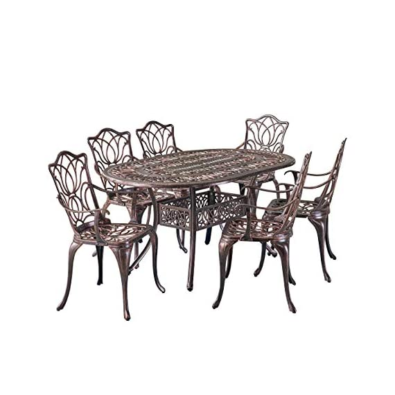 Christopher Knight Home Gardena Outdoor Furniture Dining Set, Table and Chairs for Patio or Deck in Copper (7-Piece Set) - 7-PIECE SET: Our dining set will meet all of your outdoor furniture needs. This high-class set includes 6 chairs and a table in a beautiful copper color, adding style to your space without sacrificing comfort. The chairs fit perfectly around the table for backyard family meals and picnics or lounging poolside with friends. RUST-RESISTANT METAL: At Great Deal Furniture, we bring you the best outdoor furniture available. Our table and chairs are made of sturdy and durable cast aluminum that is rust-resistant, for years of outside use. If you use this set by the pool, it's all-weather quality helps prevent water damage caused by wet swimsuits and splashing. INTRICATE ANTIQUE DESIGN: We created our Gardena furniture set with cast aluminum and a rustic and aged copper look that stays in good condition, for years of entertaining. Our classic design looks great with other yard and patio decor. - patio-furniture, dining-sets-patio-funiture, patio - 513CHYYPO0L. SS570  -