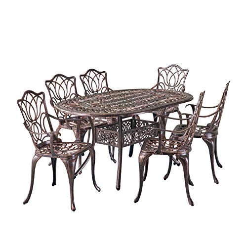 Christopher Knight Home Gardena Outdoor Furniture Dining Set, Table and Chairs for Patio or Deck in Copper (7-Piece Set) (Wrought Iron Set Chair And Table)