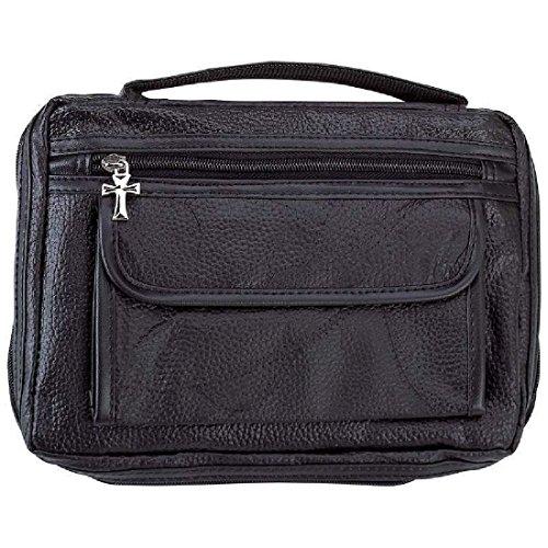 Italian Stone Design Black Leather Bible Cover Sidepocket Book Case Cross Zipper