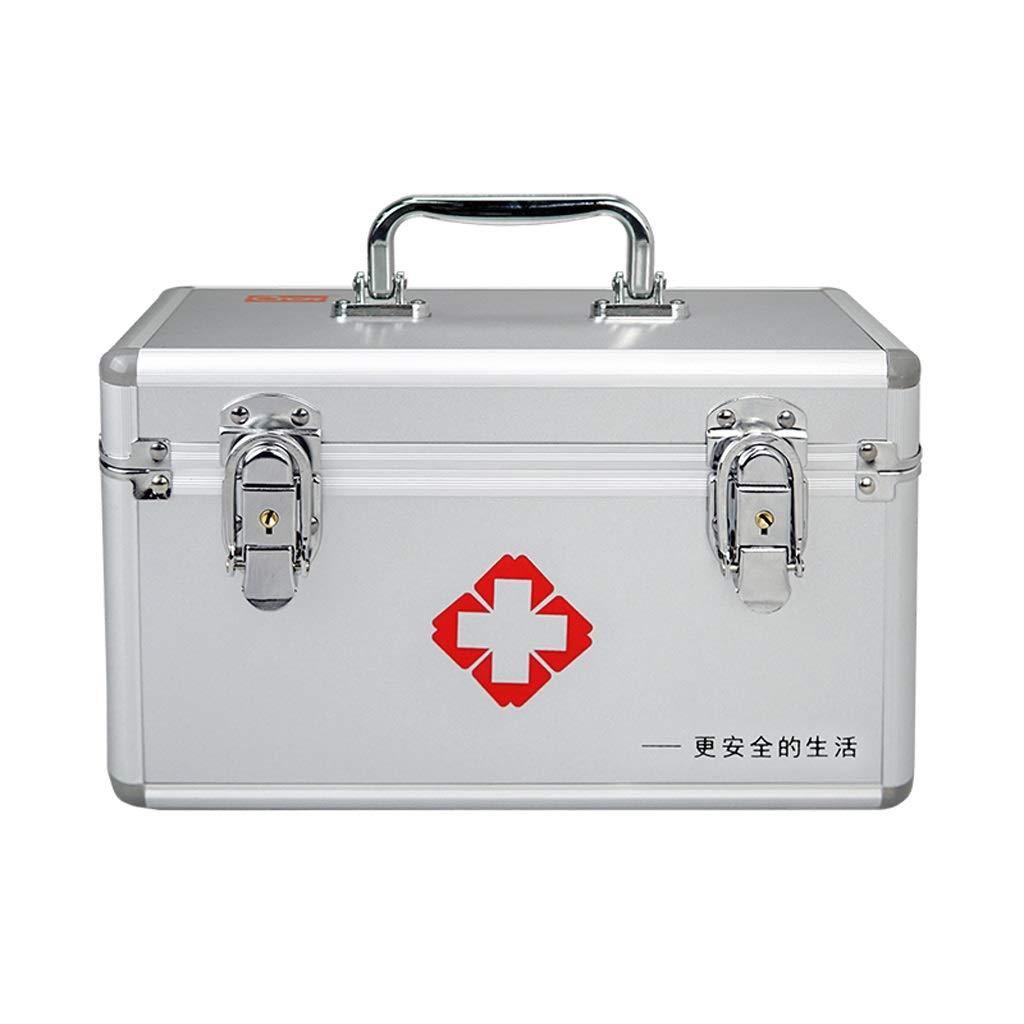 応急処置キット収納ボックス、ロック可能な2層応急処置ケース、アルミフレーム医療収納容器ボックス (Color : 16INCH)  16INCH B07RMBCPG3