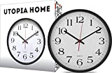 Large Wall Clock Silent & Non-Ticking - Indoor/Outdoor - Modern Quartz Design - Decorative 12-Inch Black Clock - by Utopia Home