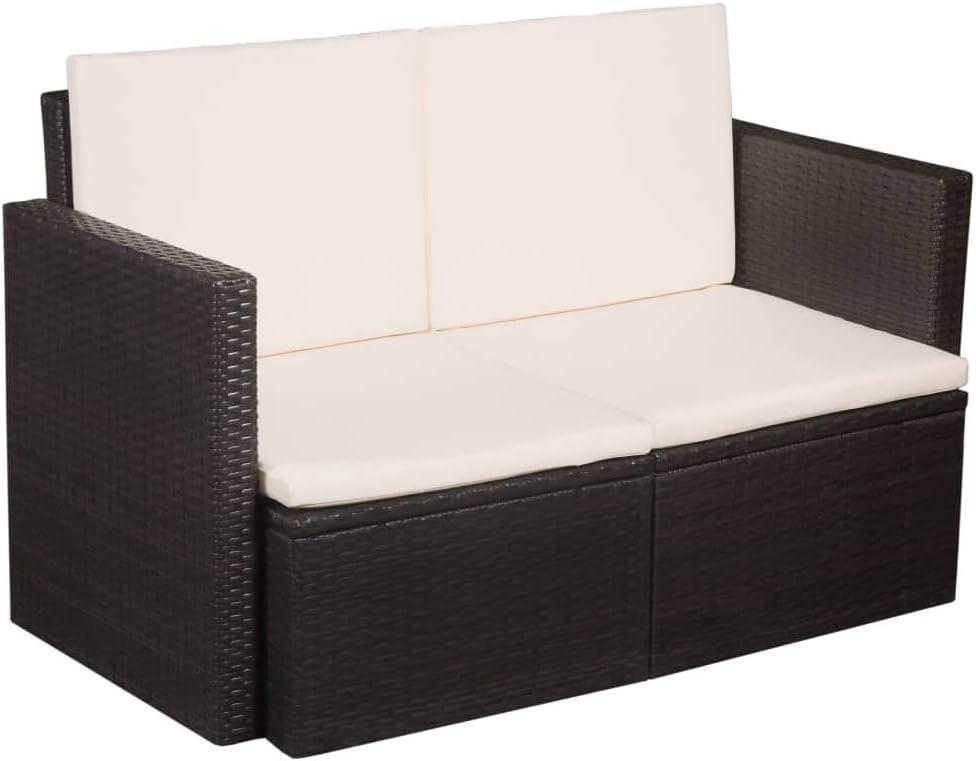 Festnight 2-Sitzer-Sofa   Garten Lounge Sofa   Rattan-Lounge   Poly Rattan Gartensofa   Outdoor Lounge Sessel   Rattan Gartenmöbel   Braun und Cremeweiß 118 x 65 x 74 cm