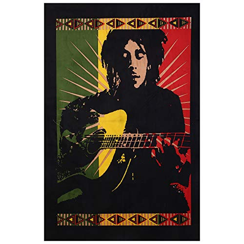 Janki Creation Indian Hippie Tapestry Wall Hanging Poster Size 30 X 40 Guitar Bob Marley Wall Hanging Tapestry Poster, Indian Traditional Cotton Printed Bohemian Hippie Large Wall
