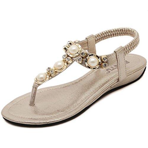 COOLCEPT Damen Mode Knochelriemchen Flip Flops Flach Slingback Schuhe Gold