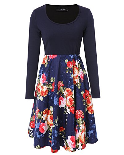 Mixfeer Women's Vintage Scoop Neck Midi Dress Long Sleeve A-line Flare Floral with Pockets Cocktail Party Tank Dress ()
