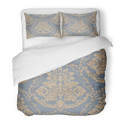 SanChic Duvet Cover Set Anniversary Vintage Baroque Damask Pattern Luxury Classic Royal Victorian Antique Decorative Bedding Set 2 Pillow Shams King Size - Luxury Damask Pillow Sham
