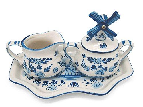 Cream & Sugar Set Windmill: Blue and White Ceramic (8.5