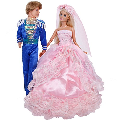 BJDBUS Wedding Set Prince Outfit Men Jumpsuit and Princess Bridal Veil Dress Dancing Party Gown Fairy Tale Clothes for Barbie Ken Doll ( Blue & Pink )