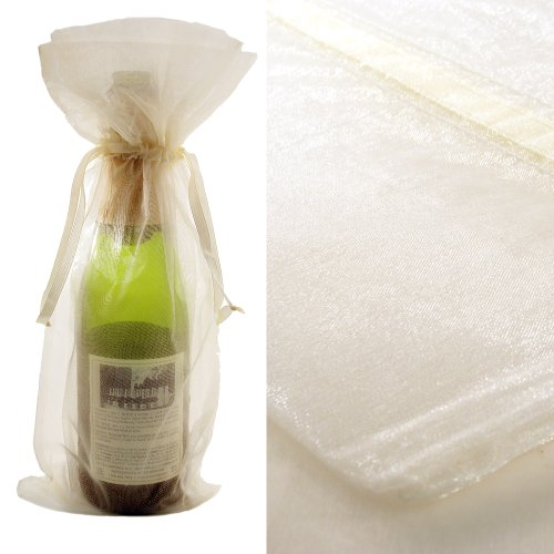 10x Ivory Bottle & Wine Organza Favor Gift Bags 6.5x15 inch ($0.94 each)