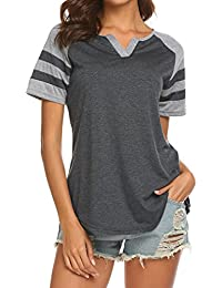 dca2a2d6 Women's Summer V Neck Raglan Short Sleeve Shirts Casual Blouses Baseball  Tshirts Top