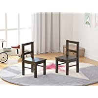 UTEX Childs Wooden Chair Pair for Play or Activity, Set of 2, Espresso
