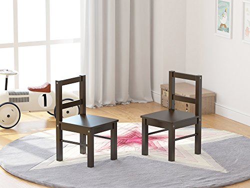 UTEX Child's Wooden Chair Pair for Play or Activity, Set of 2, Espresso by UTEX