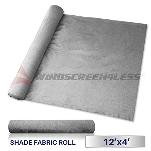 Windscreen4less Light Grey Sunblock Shade Cloth,95% UV Block Shade Fabric Roll 12ft x 4ft by Windscreen4less