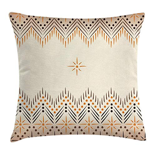 Virsa Geometric Decor Throw Pillow Cushion Cover by, Vintage Primitive Aztec Native American Motif with Folk Art Effect Print, Decorative Square Accent Pillow Case, 18 X 18 Inches, Peach -
