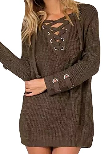 Lovaru+Women%27s+Long+Sleeve+Cozy+Lace+Up+Weave+Knit+Sweater+Pullover+Tops%2CArmy+Green%2CMedium