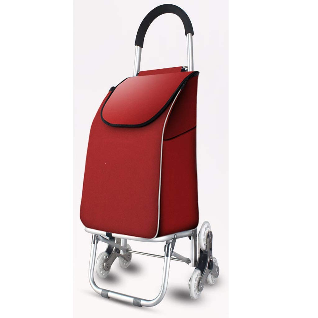 Lxrzls Shopping Cart, Small Cart, Shopping Cart, Climbing Stairs, Folding Trolley, Portable Supermarket Trolley (Color : Red)