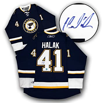 d8ba9cd29 AJ Sports World HALJ109000 JAROSLAV HALAK St. Louis Blues SIGNIERT NHL  Eishockey Premier JERSEY