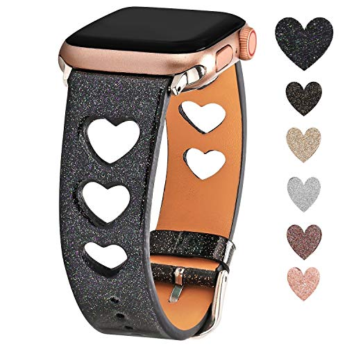 Greaciary Glitter Sparkle Band Compatible for Apple Watch 38mm 40mm 42mm 44mm,Luxury Shiny Unique Heart Shaped Style Women Girls Replacement Wristbands Compatible for iWatch Series 4/3/2/1-Black]()
