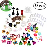 BESTOMZ 58pcs Miniature Fairy Garden Ornament for DIY Dollhouse Kit Décor