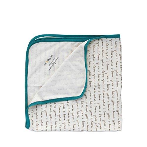 Cat & Dogma 100% Organic Cotton Swaddling Newborn Baby Blanket - I Love You/Teal (Boa Blanket Elephant)