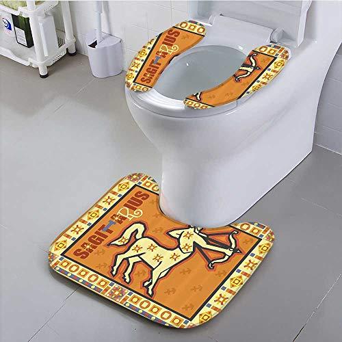 Auraisehome Alfombrilla de baño Antideslizante Moderna Original Zodiac Natal Gráfico con símbolos Esotérico Traje para el...