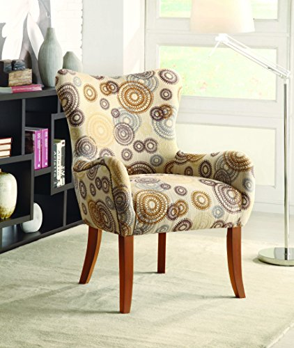 Coaster Home Furnishings  Modern Transitional English Roll Arm Tight Wing Back Swoop Accent Lounge Chair - Beige Circle Print Fabric / Light Brown - Modern Traditional Chair